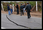 cracks shown on highway in Lima after earthquake of 8.0 magnitude happened in Peru on Aug 15th, 2007; the epicenter was roughly 150km south-southeast of lima