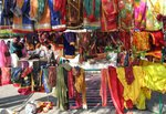 Colourful Saris in the Streets of Jaipur, INDIA