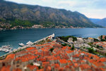 Splendid view of the Bay of Kotor and its triangular wedge of the old city