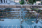 Couples in love come here to affix engraved padlocks on the Butcher's Bridge (2010)