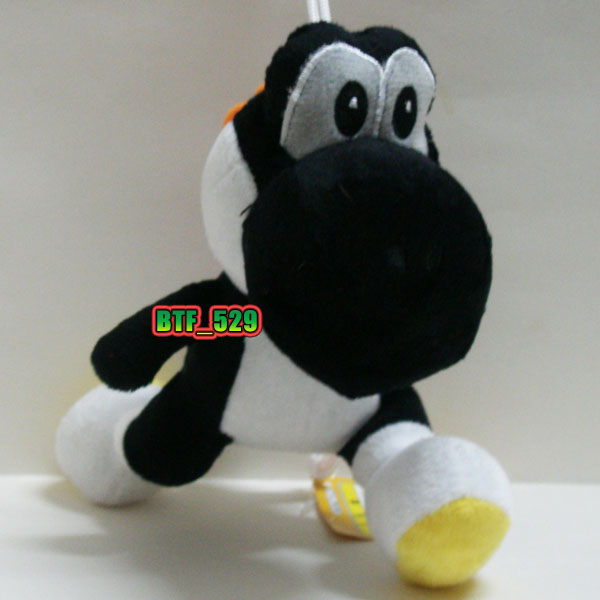 "Plush 7"" Black Yoshi C New Super Mario Brothers Plush Doll Figure"