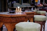 Traditional tables & chairs in a Bosnian cafe