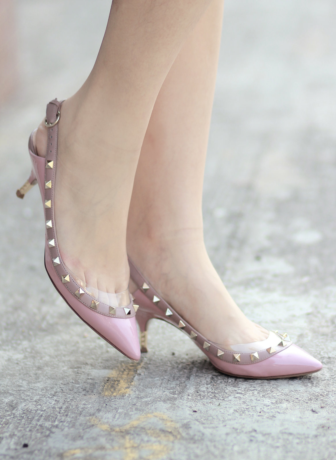 Grey And Pink Heels