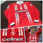 Middlsebrough 1998-99 Home Match Worn Shirt with players signed