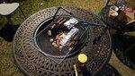 2人燒烤套餐有魚旦4粒, 排骨4舊, 腸4條, 一條魚, 4隻雞翼, 一包粟米, 2條羊架和一大塊牛扒, 加2舊法包及一煲喇沙 DSC02190