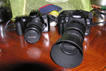 Canon EOS88 with EF 35-80, EOS350D with EF 75-300