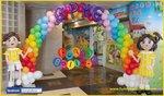 氣球學生公仔及拱門佈置