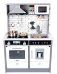 M139 - 木製韓國豪華聲光版灰白色大厨房 + 灰色大雪櫃套裝<br>.<br>豪華加強版 - 有多角度聲音,有多角度燈光,有出冰位<br>.<br>門市售$1900<br>批發價$780  <br><br>(本月訂購 Free 厨具<br>.<br>