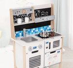 M140 - 木製北歐聲光版白色廚房<br>.<br>加強版 - 有聲音,有燈光,有咖啡機,有黑板<br>.<br>門市售$1100<br>批發價$490 <br><br>(本月訂購 Free 厨具) <br><br> 厨房呎吋: 60*30*90cm 台高55cm<br>.<br>