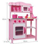 M143 - 木製出口波蘭粉紅色聲光版厨房<br>.<br>加強版 - 有聲音,有燈光<br>.<br>門市售$950<br>批發價$480 <br><br>(本月訂購 Free 厨具)<br><br>厨房呎吋: 60*30*85cm,台面高度50cm<br>.<br>