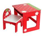 F8125 - 木製紅色兒童學習桌 + 靠背椅子套裝<br>.<br>門市售$1300<br>批發價$450<br>.<br>桌:寬度50×深40×高42cm<br>.<br>椅子:寬32×深30×高40cm<br>.<br>