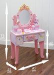 F8010 - 木製皇冠75增高粉色梳粧檯 加 背椅子<br>.<br>門市售$1100<br> 批發價$450<br>.<br>
