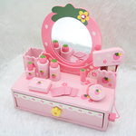 F8017 - 木製草莓粉色梳粧檯<br>.<br>門市售$550 <br>批發價$260<br>.<br>