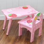 F8121 - 木製草莓桌子 + 背椅子<br>.<br>門市售$550<br> 批發價$280<br>.<br>