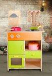 A76 - 木製綠色多格廚房<br>.<br>門市售$650<br>批發價$310<br><br>(本月訂購 Free 厨具)<br><br>