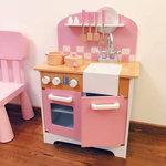 A206 - 木製北歐粉紅色雙門廚房<br>.<br>門市售$950 <br> 批發價$420 <br><br>(本月訂購 Free 厨具)<br>.<br>