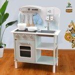 A139 - 木製歐式藍色廚房<br>.<br>加強版 - 有聲音,有燈光<br>.<br>門市售$920<br>批發價$460<br><br>(本月訂購 Free 厨具)<br><br>