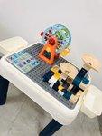 E594- 小兔積木桌兩用枱<br>.<br> $150 (一套)<br>.<br>套裝包括 :<br>灰色積木書桌兩用枱1張<br>背椅1張<br> 收納盒2個 <br>.<br> (加$50換購多1張背椅)<br>(加$50換購83粒滑道積木1盒)<br> (加$50換購摩天輪1個)  (藍色 / 橙色) <br>.<br>桌子呎吋為 : 49*39*43 cm<br>椅子呎吋為 : 27*27*43 cm<br>.<br>