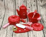 F8088 - 木製紅色9件套草莓鍋具<br>.<br>門市售$450<br>批發價$200<br>.<br>