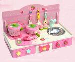 A204 - 木製粉紅色折叠平面廚房<br><br>(折合後可作書桌)(多功能兩用)<br>.<br>門市售$900<br> 批發價$390<br><br>(本月訂購 Free 厨具)<br><br>