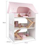 A179 - 木製粉紅色三層别墅配家具<br>.<br>門市售$750<br>批發價$320<br>.<br>