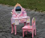 A38 - 木製升級皇冠梳粧檯套裝 + 粉色背椅子.門市售$990批發價$430.(椅子改新款了).