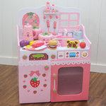 F8113 - 木製加高粉色草莓廚房套裝<br>.<br>門市售$3500<br>批發價$1180<br><br>(本月訂購 Free 厨具)<br><br>