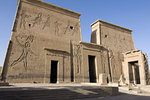 The pylons and the reliefs of this temple are quite intact. On the left shows Ptolemy XII massacring his enemies.