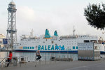 Trans-mediterranean ferry docking at Port Vell. It usually serves between Spain and Balearia islands